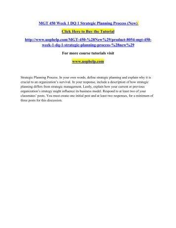 MGT 450 Week 1 DQ 1 Strategic Planning Process