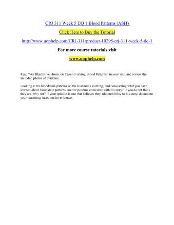 CRJ 311 Week 5 DQ 1 Blood Patterns (ASH)