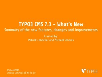 TYPO3 CMS 7.3 - What's New