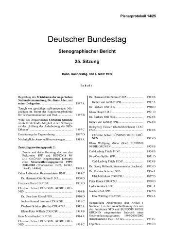 Stenographischer Bericht 25. Sitzung - Deutscher Bundestag