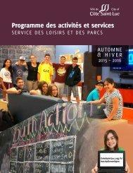 Côte Saint-Luc Programme des activités et services : Automne & hiver 2015-2016