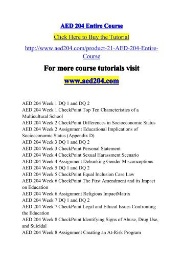 AED 204 Entire Course-aed204dotcom