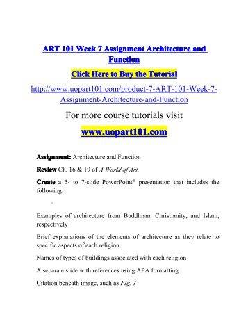 ART 101 Week 7 Assignment Architecture-uopart101dotcom