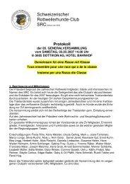Protokoll GV SRC 2007 - Schweizerischer Rottweiler Club