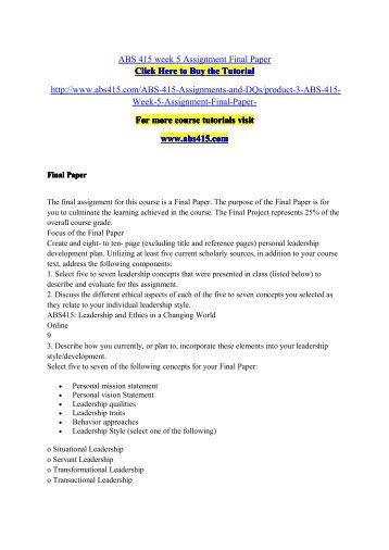 ABS 415 Week 5 Assignment Final Paper / abs415dotcom