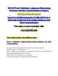 BIS 320 Week 3 Individual Assignment-Determining -bis320dotcom