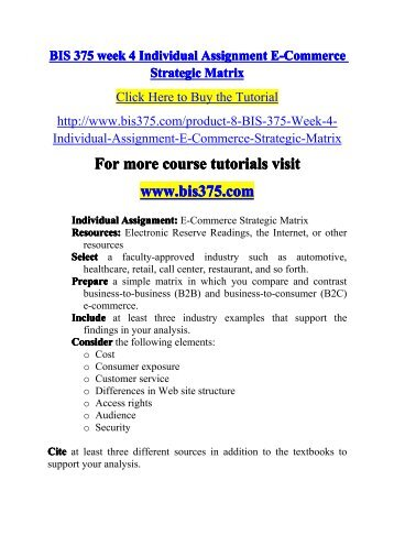 BIS 375 week 4 Individual Assignment E-Commerce-bis375dotcom