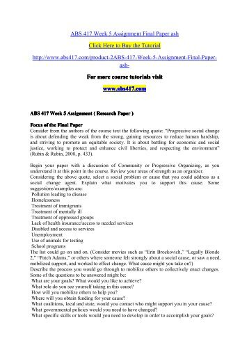 ABS 417 Week 5 Assignment Final Paper as / abs417dotcom