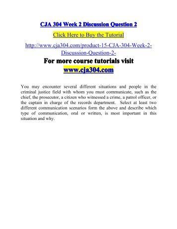 CJA 304 Week 2 Discussion Question 2-cja304dotcom