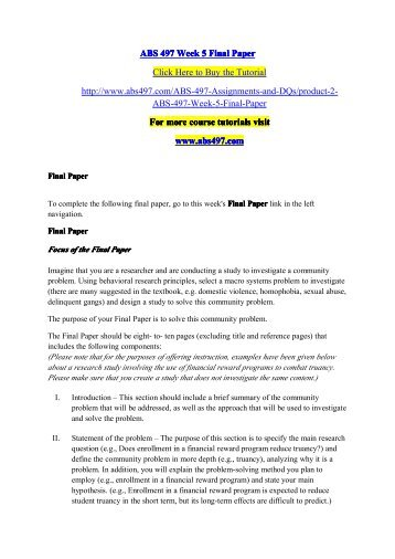 ABS 497 Week 5 Final Paper / abs497dotcom