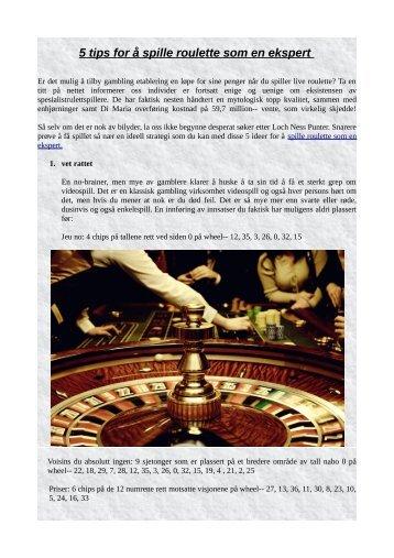 5 tips for å spille roulette som en ekspert