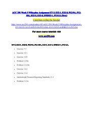 ACC 291 Week 5 Wileyplus Assignment E7-3, E12-1, E12-8, P12-9A, P12-10A, E13-3, E13-4, IFRS13-1, P13-2A (New) / acc291dotcom