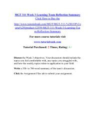 MGT 311 Week 3 Learning Team Reflection Summary/Tutorialrank