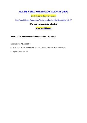 ACC 290 WEEK 3 VOCABULARY ACTIVITY (NEW) /  acc290dotcom