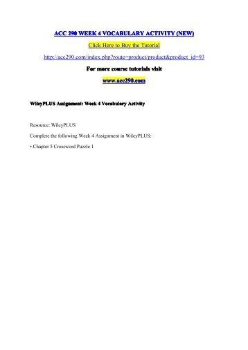 ACC 290 WEEK 4 VOCABULARY ACTIVITY (NEW) /  acc290dotcom