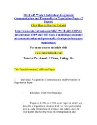MGT 445 Week 1 Individual Assignment Communication and Personality in Negotiation Paper (2 Papers)/Tutorialrank