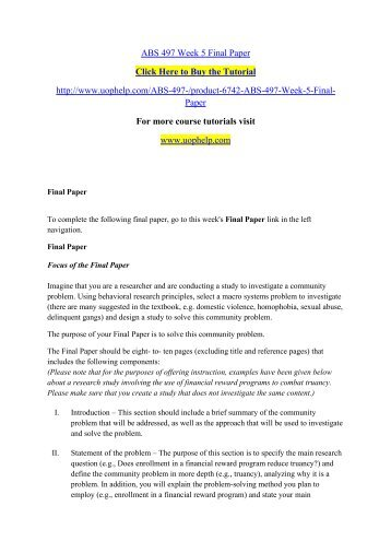 ABS 497 Week 5 Final Paper/ UOPHELP