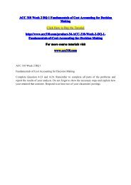 ACC 310 Week 2 DQ 1 Fundamentals of Cost Accounting for Decision Making / acc310dotcom