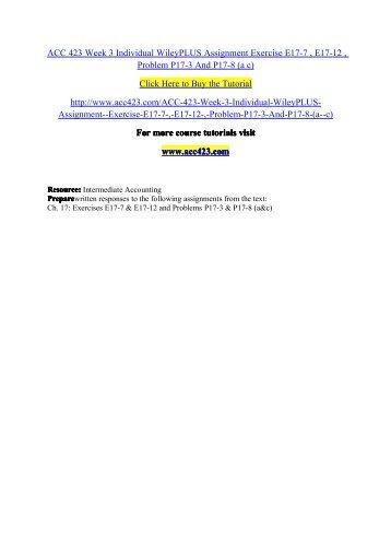 Acc 291 week 3 wiley plus exercises