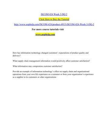 ISCOM 424 Week 3 DQ 2/UOPHELP