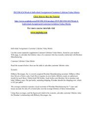 ISCOM 424 Week 4 Individual Assignment Customer Lifetime Value Metric/UOPHELP