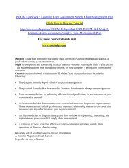 ISCOM 424 Week 5 Learning Team Assignment Supply Chain Management Plan/UOPHELP