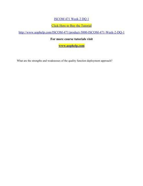 ISCOM 471 Week 2 DQ 1/UOPHELP