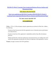 ISCOM 471 Week 2 Learning Team Assignment Business Process Analysis and Measurement Paper/UOPHELP