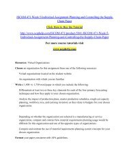 ISCOM 471 Week 5 Individual Assignment Planning and Controlling /UOPHELP