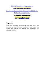 ECO 100 Week 3 DQ 1 Coprporations  no/uophelp