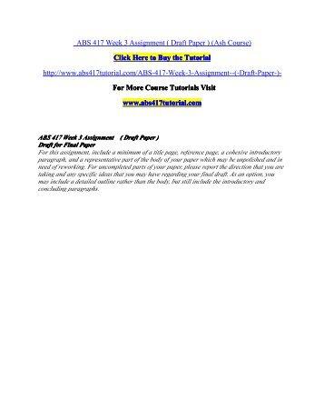 ABS 417 Week 3 Assignment /abs417tutorialdotcom