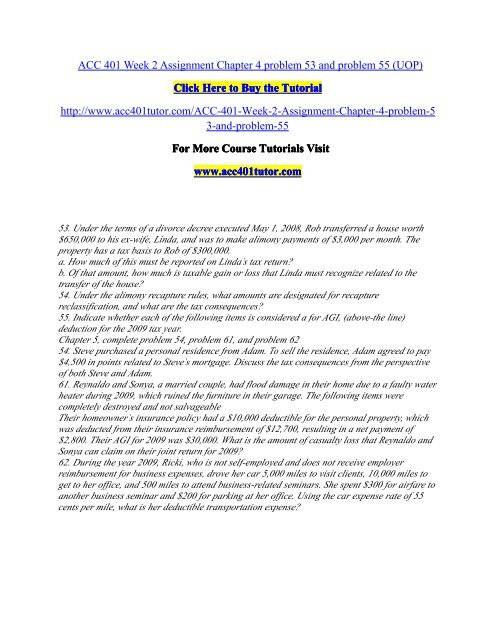 ACC 401 Week 2 Assignment Chapter 4/ acc401tutordotcom