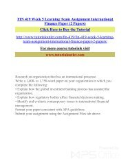 FIN 419 Week 5 Learning Team Assignment International Finance Paper (2 Papers) /Tutorialoutlet