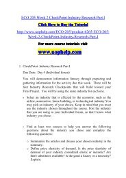 ECO 205 Week 2 CheckPoint Industry Research Part I/uophelp