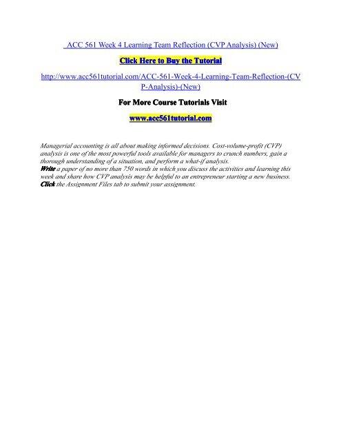 ACC 561 Week 4 Learning Team Reflection / acc561tutorialdotcom