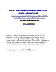 ECO 365 Week 1 Individual Assignment Economic Analysis/uophelp