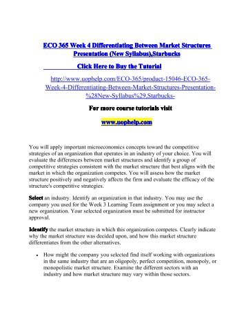 ECO 365 Week 4 Differentiating Between Market Structures Presentation (New), Apple/uophelp