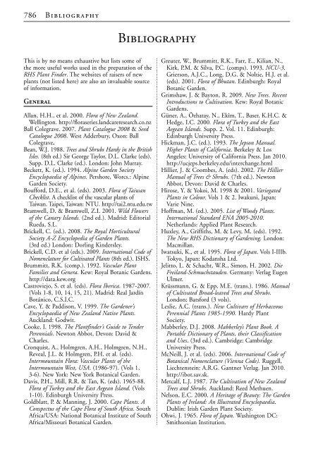 Bibliography - Royal Horticultural Society