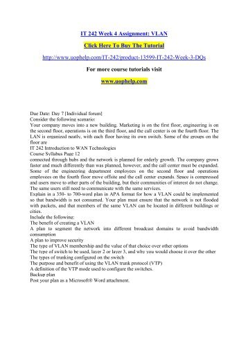 IT 242 Week 4 Assignment VLAN/uophelp