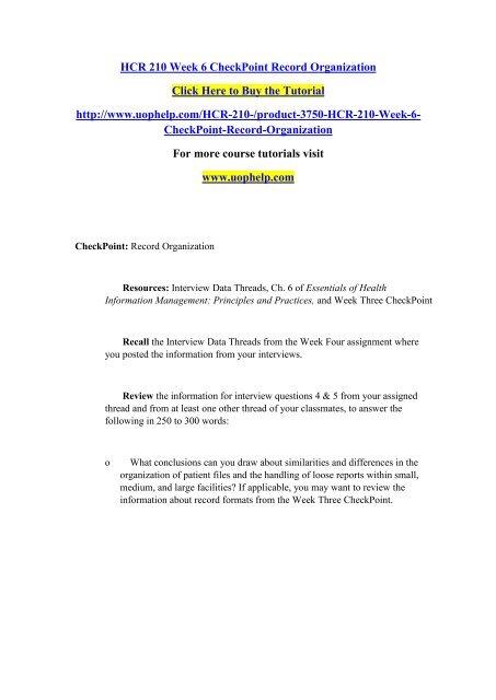 HCR 210 Week 6 CheckPoint Record Organization/UOPHELP