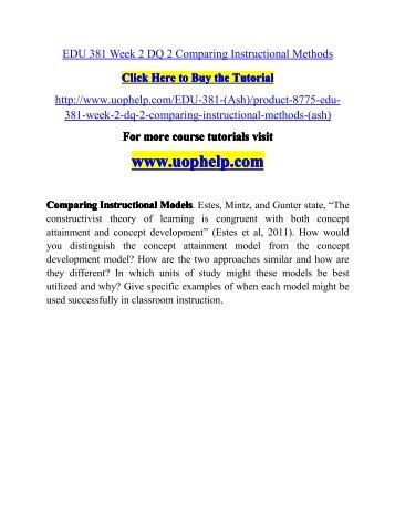 Edu 381 Week 2 Dq 2 Comparing Instructional Methodsuophelp