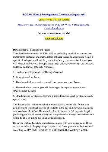 ECE 315 Week 5 Developmental Curriculum Paper (Ash)