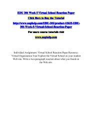 EDU 301 Week 5 Virtual School Reaction Paper/UOPHELP