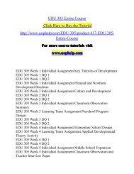EDU 305 Entire Course/UOPHELP