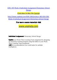 EDU 305 Week 4 Individual Assignment Elementary School Design/UOPHELP