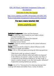 EDU 305 Week 2 Individual Assignment Culture and Development/UOPHELP
