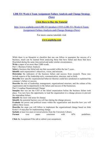 ldr 531 failure analysis change strategy essays