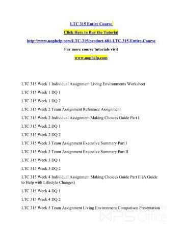 LTC 315 Entire Course/uophelp