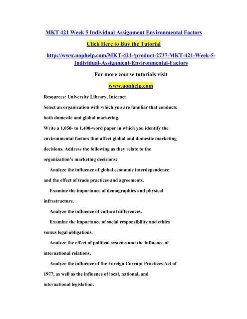MKT 421 Week 5 Individual Assignment Environmental Factors