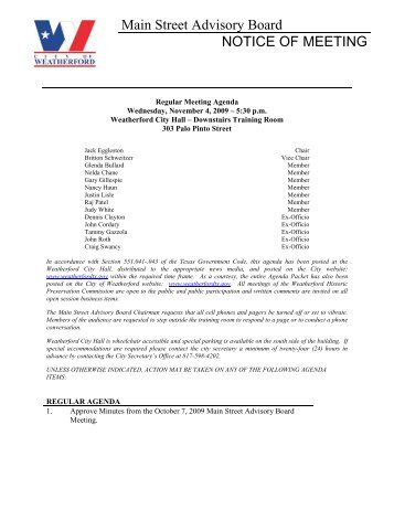 notice of meeting city of weatherford texas. Black Bedroom Furniture Sets. Home Design Ideas